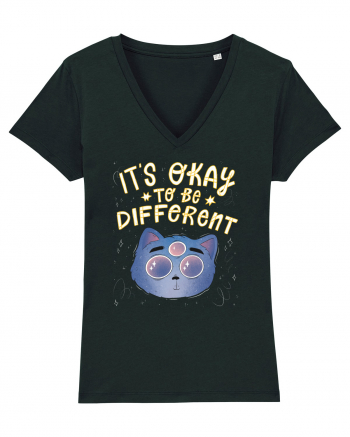 It's Okay To Be Different Cat - light Tricou mânecă scurtă guler V Damă Evoker