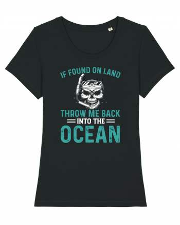 If Found On Land Throw Me Back Into The Ocean Tricou mânecă scurtă guler larg fitted Damă Expresser