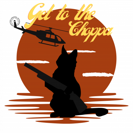 Get to the choppa Cat. Retro funny Cat