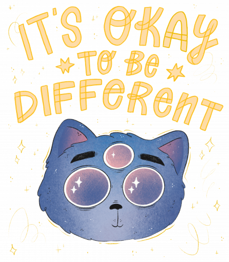 It's Okay To Be Different Cat - yellow